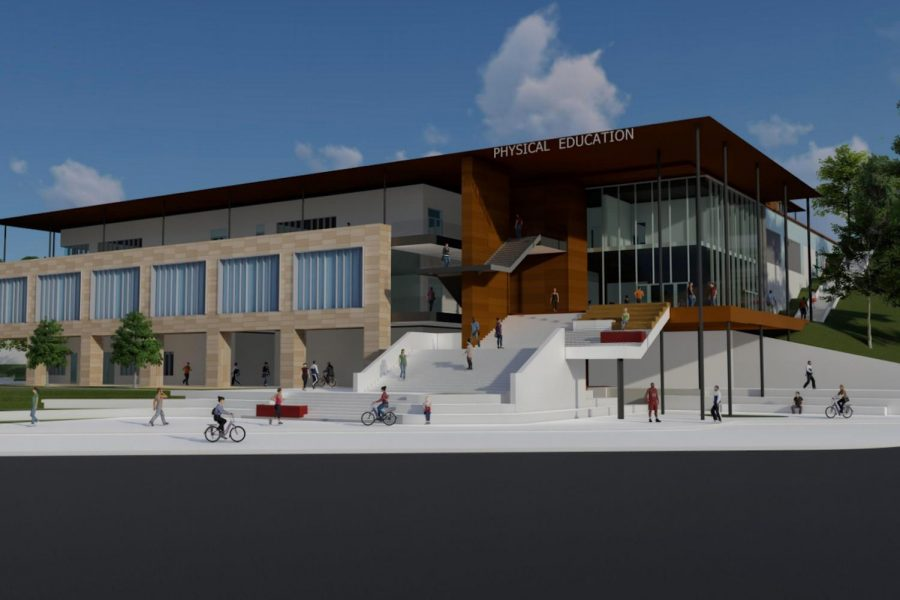 "A perspective rendering of the new Sports Pavilion from the main entryway near Parking Lot 2C. The pavilion will be four stories high, with the new gym beginning on the second floor. ""It clearly denotes a front door which is something that the existing physical education building is somewhat lacking,"" said Steve Flanagan, Director of Higher Education at LPA Inc. at the Board of Trustees' April 9 meeting. Courtesy of LPA."