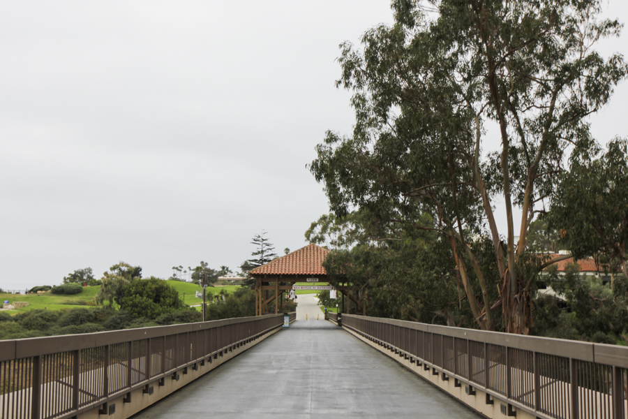 The footbridge connecting East and West campus was once a bustling destination for City College students who needed to cross campus, now as classes are fully online the bridge is empty on Monday, August 31, 2020 at City College in Santa Barbara, Calif.