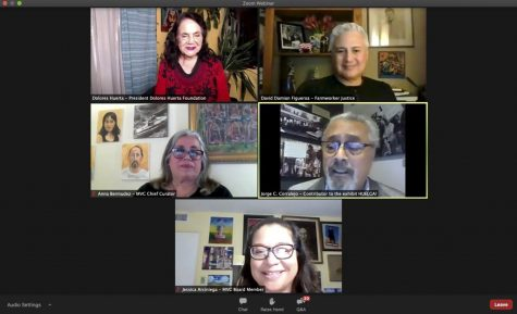 Screengrab of Webinar hosted by The Museum of Ventura County featuring Dolores Huerta on Sept. 21. During the Webinar Huerta and other civil rights and Chicano activists and leaders spoke to what they are currently working on, including a photography exhibit centered around preserving photographs of the United Farm Workers union in the 60s-70s.