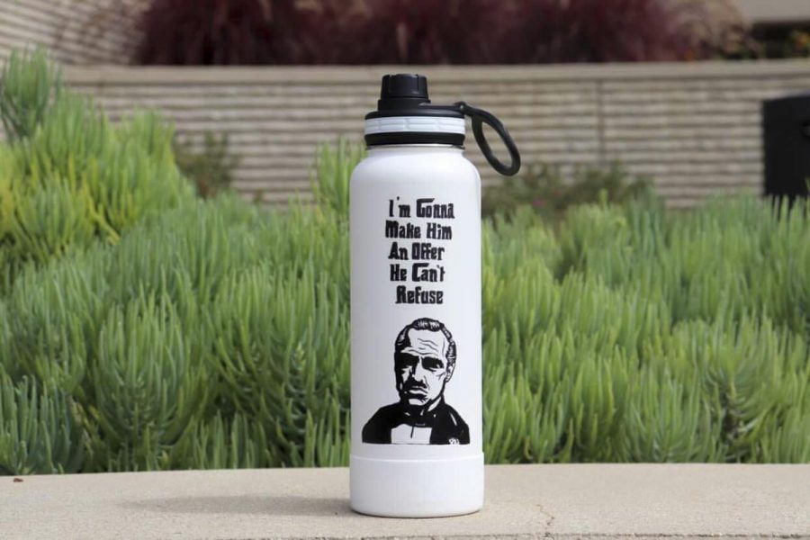 Courtesy image of a Godfather decal on a water bottle from Miranda Alvarez.