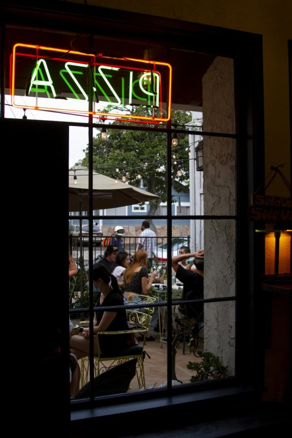 View out the front window of Revolver Pizza of the Patio seeing on Sept. 17, 2020 at Revolver Pizza in Santa Barbara, Calif.