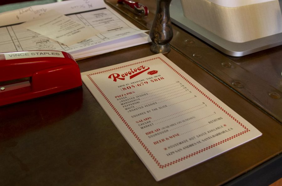 Small take home versions of the Revolver Pizza Menu on the front counter in the restaurant on Sept. 17, 2020 at Revolver Pizza in Santa Barbara, Calif.