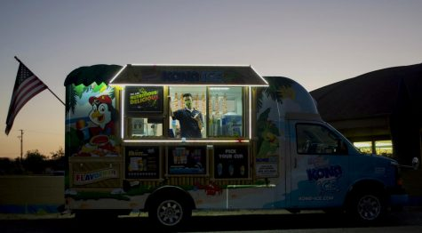 "Several food trucks were available at the screening of the Patagonia documentary ""Public Trust."" at the West Wind Drive-In, Sept. 23, 2020, in Santa Barbara, Calif. Audience members wandered between the trucks before and during the screening."