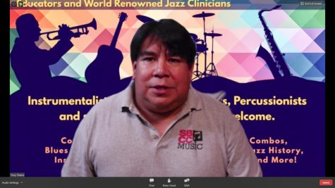 "Screen Grab of Jazz Improvisation and Guitar Studies instructor Tony Ybarra describing the challenges in teaching music classes remotely during the ""SBCC Jazz at the Cutting Edge"" webinar hosted by SBCC Foundation president Geoff Green on Thursday, Sept. 4 in Santa Barbara, Calif."