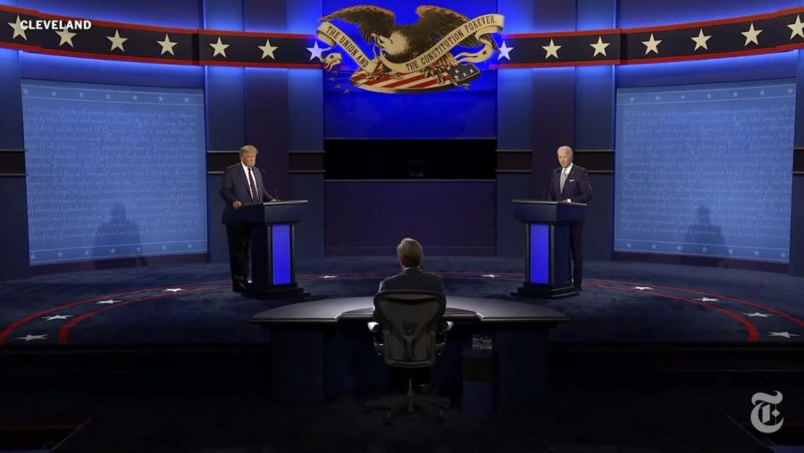 Screen grab from the first 2020 presidential debate.