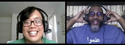 "Hong Lieu (left), and Akil Hill recording their podcast ""Vaquero Voices"" over Zoom on Oct. 23, 2020. Lieu and Hill record their podcast over Zoom inorder to keep up social distancing."