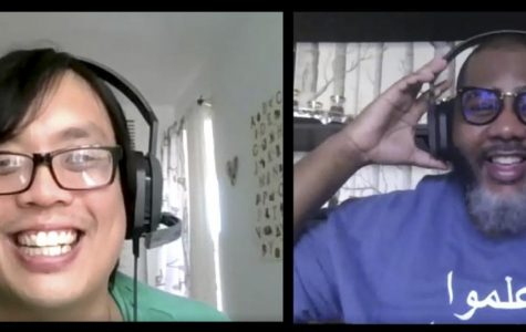 """Hong Lieu (left), and Akil Hill recording their podcast """"Vaquero Voices"""" over Zoom on Oct. 23, 2020. Lieu and Hill record their podcast over Zoom inorder to keep up social distancing."""