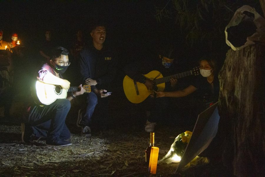 Jordan Mitchell, Douglass Torress, and Julian Toledo performed Amor Eterno and Te Vas Angel Mio at Nicholas Claudio's vigil on Oct. 3 at Sands Beach in Isla Vista, Calif. Mitchell, who was personal friends with Claudio, asked Torress and Toledo to help him perform in Claudios honor.
