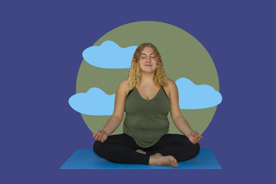 Photo Illustration of a person meditating.