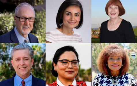 Board of Trustees Candidates up for election on Nov. 3. Area 2: Robert Miller (top left) vs. Ronald J. Liechti (bottom left). Area 3: Veronica Gallardo (top middle) vs. Erin Guereña (bottom middle). Area 4: Celeste Barber (top right) vs. Anna Everett (bottom right).