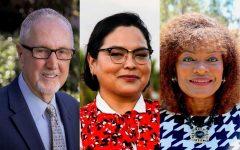 Board of Trustees candidates endorsed by The Channels. From left, Area 2 (Goleta) Robert Miller, Area 3 (Santa Barbara) Erin Guereña, and Area 4 (Santa Barbara) Anna Everett.