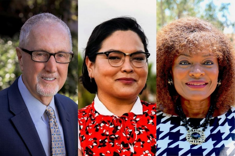 Board of Trustees candidates endorsed by The Channels. From left, Area 2 (Goleta) Robert Miller, Area 3 (Santa Barbara) Erin Guereña, and Area 4 (Santa Barbara) Anna Everett.
