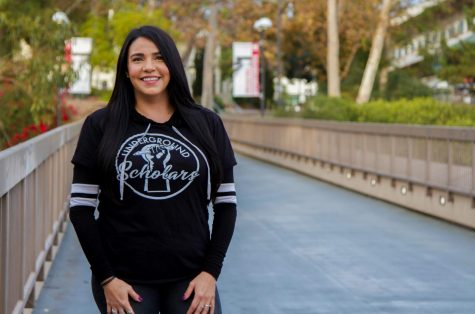 Lisandra Barrera, student ambassador for the Underground Scholars Initiative, stands on the footbridge at City College on Nov. 20, 2020, in Santa Barbara, Calif. Barrera has been the ambassador for the USI since January.