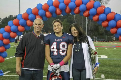 Courtesy image of Dylan Grausz and his parents Michael and Martha in November 2018 at Campolindo High School in Moraga, Calif.