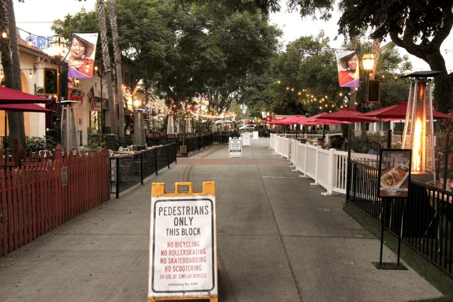 Outdoor seating for downtown restaurants on State Street on Nov. 18, 2020 in Santa Barbara, Calif. The state was placed back into the