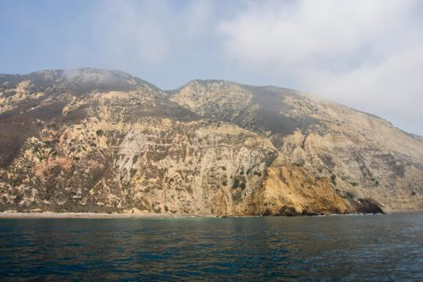 During the 3-hour boat ride to Santa Rosa Island there are usually extreme winds and swells in the water outside Santa Rosa Island, Calif. Boats dock at Bechers Bay, Santa Rosa, leaving campers for at least three days before returning.