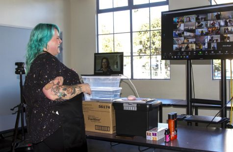 Sarah Jackson teaches one of her cosmetology classes through Zoom on Nov. 11, 2020 in the City College cosmetology facility in downtown Santa Barbara, Calif. The department provides each student with every product they will need throughout the semester.