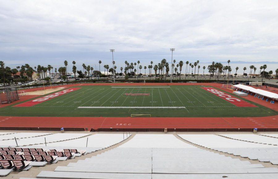 From the top of the bleachers at La Playa Stadium the black gravel that was laid down as a base for the artificial turf 11-years-ago can be seen almost as clearly as if you were down on the field on Feb. 1, 2020, at City College in Santa Barbara, Calif. The holes and ripped up turf can also be seen from a distance.