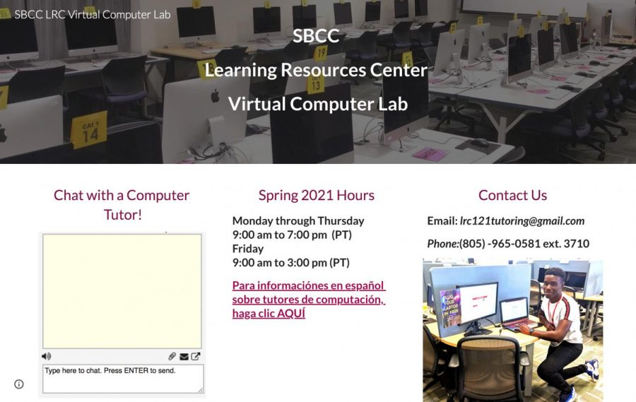 Screengrab of the Cartwright Learning Resources Center website, where students can find information on how to contact the department, hours of availability, and how to interact with tutors in real time using the chat-box feature.