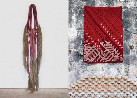 "Left: Tanya Aguiñiga, ""Cosas que Sangran,"" 2020. Braided cotton rope, cochineal dye, heckled flax. Right: Porfirio Gutiérrez, ""Ritual Series."" Textile dyed with cochineal insects. Photographed on the main plaza in Teotitlán del Valle Oaxaca by Javier Lazo Gutiérrez. Courtesy of SBCC Foundation."