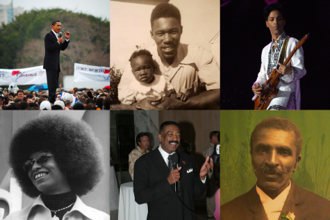 Clockwise from top left, 44th President of the United States Barack Obama, scientist and activist Smiley Wilkins, Sr., musician Prince, inventor George Washington Carver, educator Ron Oden and educator and activist Angela Davis.