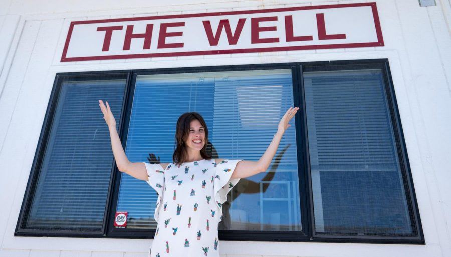 Student Program Advisor Becky Bean in front of The Well's headquarters at Santa Barbara City College. The Well collaborates with City College faculty, personal counselors and clubs to facilitate events, such as mindfulness and stress reduction groups. Image courtesy of SBCC/The Well