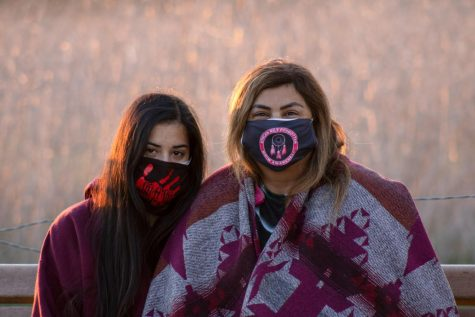 From left, Robyne Redwater, and Marianne Parra arrived for the second day of sit-in protests at 5 a.m. on Feb. 26, 2021 at the San Marcos Foothills preserve in Santa Barbara, Calif.have been following the issue closely for over a month and one of Parra's daughters, Noemi Aidee Tungüi, was one of the eight arrested and released during Thursday's sit-in protest.