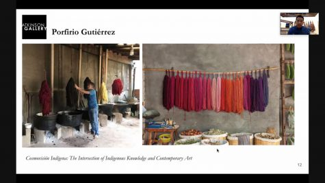 Artist advisor Porfirio Gutiérrez was born and raised in the textile-rich community of Oaxaca, learning the ancestral art of dyeing and weaving through natural ingredients such as cochineal and indigo. Gutiérrez is currently in Ventura, providing the technology and insight necessary for the upcoming project.