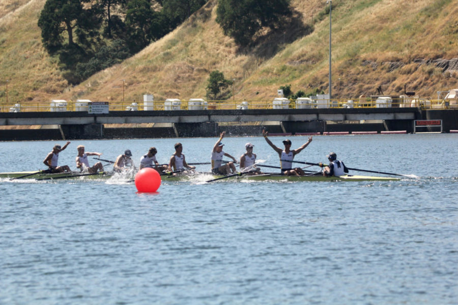 Adam McDonald (Five from the right), and his teammates celebrate a first place win during the lightweight eight+ event during the 2019 USRowing Southwest Youth Regional Championships.