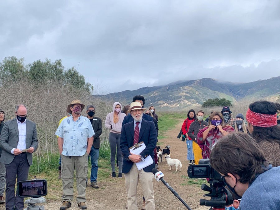 Attorney Marc Chytilo announces a new plan to buy the San Marcos Foothills Preserve land on March 10, 2021, in Santa Barbara, Calif. The Save San Marcos Foothills organization has been given 90 days to raise $18 million.