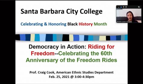 "Screengrab of Alondra Lazaro Gonzalez, the Student Program Advisor for the Center for Equity and Social Justice, introducing the ""Democracy in Action: Riding for Freedom,"" virtual Zoom event on February 25. The Zoom event was in honor of Black History Month."