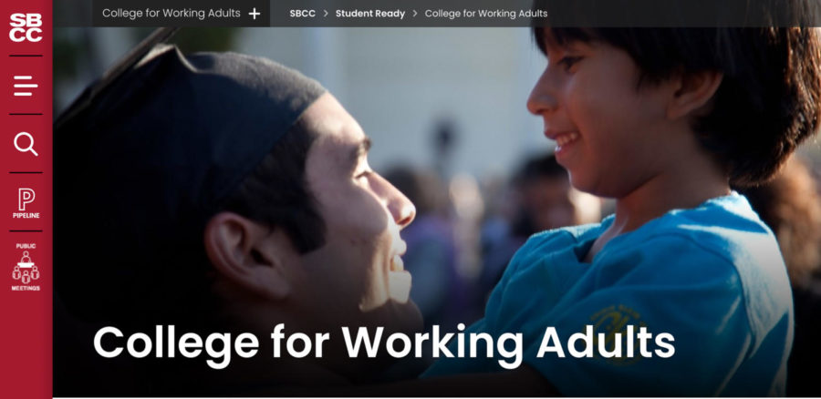 Screengrab of the College for Working Adults main page on the SBCC website. The College for Working Adults program aims to help the Hispanic student, post-traditional and part-time student populations.