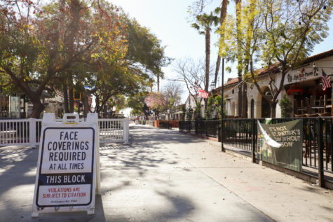 State Street has been turned into a pedestrian promenade with the goal of bringing business back for the local shops, restaurants, and bars. File photo of State Street on March 15, in Santa Barbara, Calif.