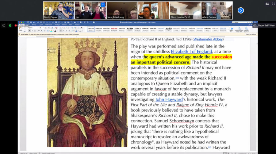 Professor Mark Ferrer introduces King Richard II, the star of Shakespeare's play of the same name, to his Adult Education literature students on March 8, 2021, over Zoom. Ferrer lectures for about an hour before they start a new play, then the students take on the character roles and read it line by line.
