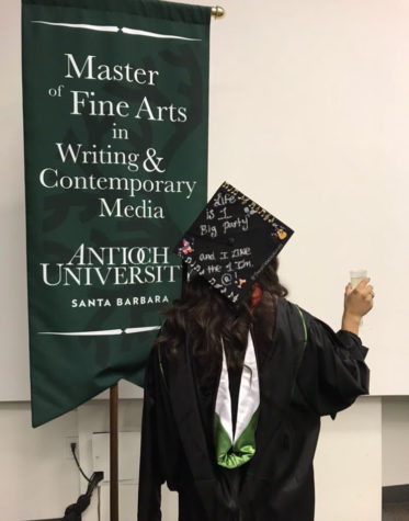 Kiki Reyes attends her graduation from Antioch University Santa Barbara, where she received a master