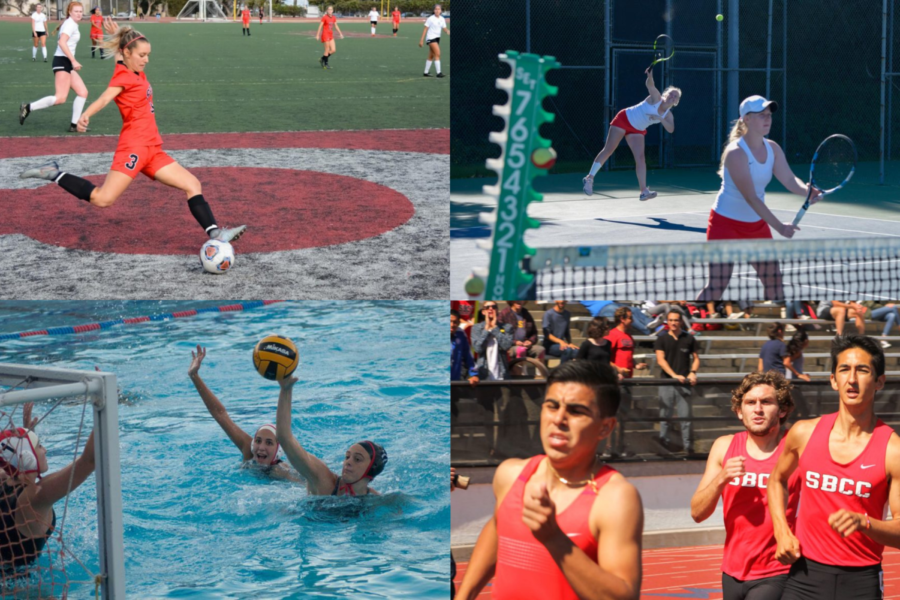 Photo illustration using Channels file photos from previous events, featuring women's soccer, women's tennis, women's water polo and men's cross country.
