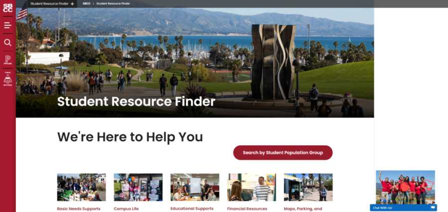 Screengrab of the Student Resource Finder main page on the SBCC website. With the new resource finder function students are able to find specific information on resources they qualify for all in one spot, if a student has any questions there is also a live chat feature.