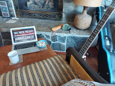 Photo illustration of a cozy at-home setup for watching the Monday Madness live Jazz show on April 18, 2021. With the YouTube live setup, the spectators could write real-time messages to the musicians as they played live.