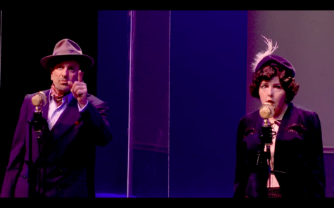 """Matthew Tavianini and Jenna Scanlon as the leads Nick and Nora Charles in City College's virtual performance of the radio drama """"The Thin Man"""" on Wednesday, April 21, 2021. Their on-stage banter and chemistry together was palpable, and their scenes were highlights of the night."""