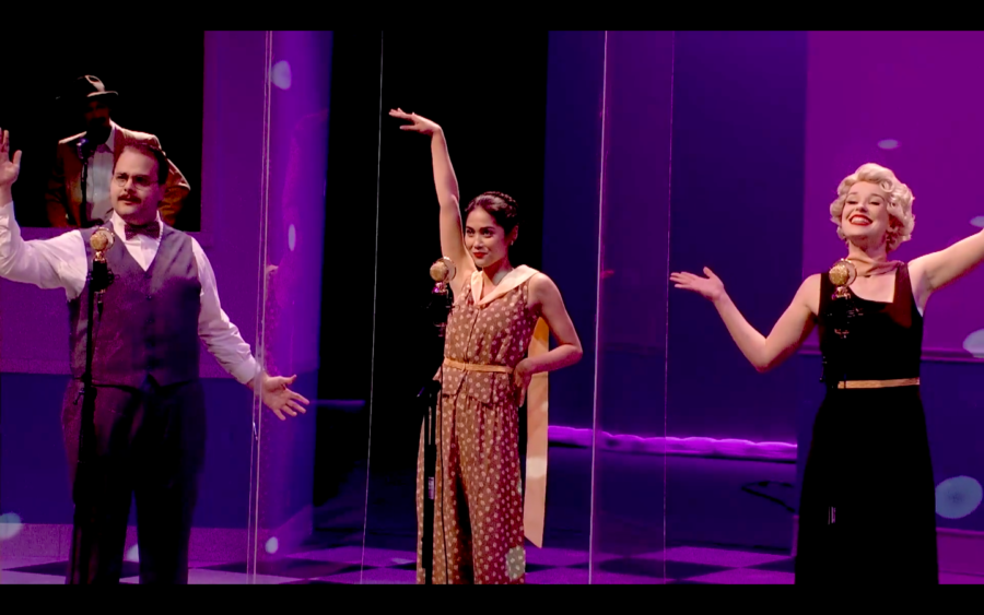 Robert Allen, Laksmini Wiyantini and Madison Widener act out an old Commercial to serve as a smooth transitional between acts for City College's virtual performance of the radio drama