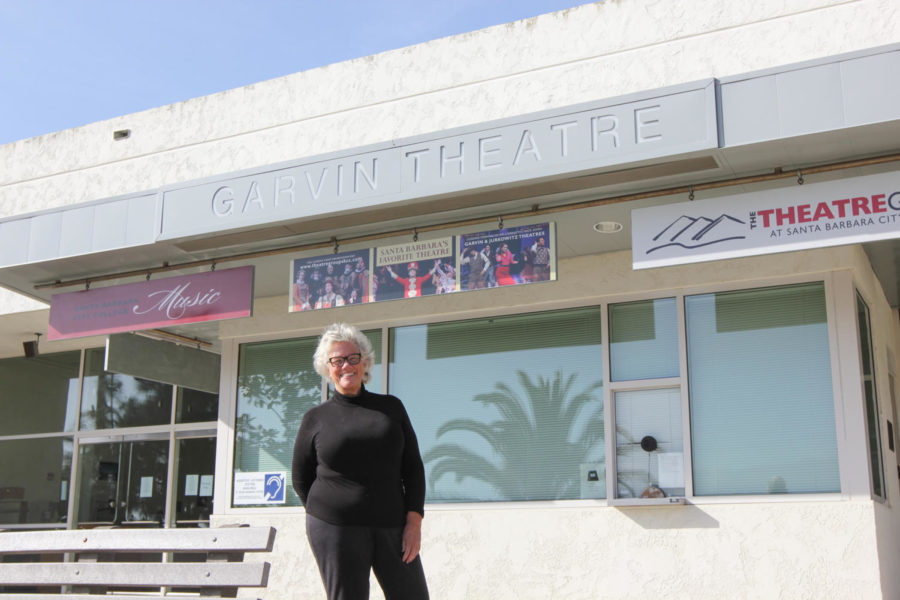 "Liz Gates on April 15, 2021 outside of the Garvin Theatre at City College in Santa Barbara, Calif. ""Every minute I spend at City College in the Theatre Arts department is a win,"" she said."