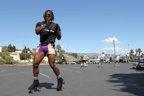 "Terrance Brown skates at the weekly SB Rollers meetup on March 21, 2021, at Lot 3 on the City College campus in Santa Barbara Calif. ""The core group started off as six people,"" he said. ""It started growing from there."""