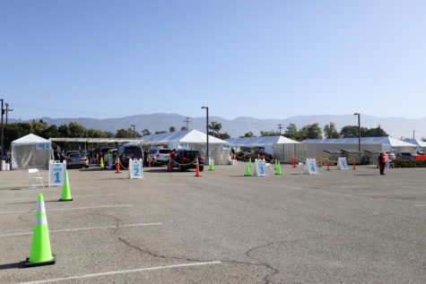 The drive-through vaccine clinic at Goleta Valley Cottage Hospital has multiple immunization tents, including a walk-up tent for locals and UCSB students that don