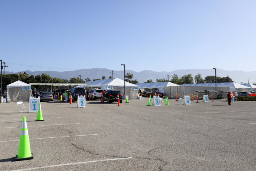 The drive-through vaccine clinic at Goleta Valley Cottage Hospital has multiple immunization tents, including a walk-up tent for locals and UCSB students that don't have a car on April 16 at Goleta Valley Cottage Hospital in Goleta, Calif.