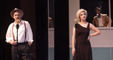 "From left, Van Riker as Joe Morelli, Madison Widener as Julia Wolf, and Brian Harwell as W.S. Van Dyke in SBCC's online streamed production of ""The Thin Man."" Performers wore period clothes reflecting the original 1930"
