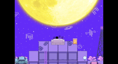 A view of the Headspace, one of the more vibrant and colorful settings in the game Omori. The player is accompanied by a group of friends, with the player controlling the titular character.