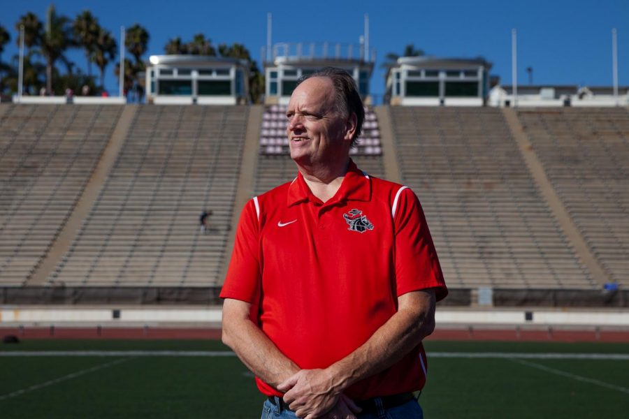 "City College Sports Information Specialist Dave Loveton died on Wednesday, April 28, 2021. ""This was incredibly heartbreaking news,"" said Athletic Director Rocco Constantino. Loveton stands in the center of La Playa Field on Friday, Nov. 8, at City College in Santa Barbara, Calif."
