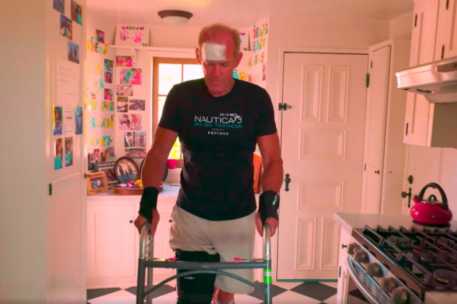 """Screen grab from the film """"Climb."""" The documentary tells the story of Neil Myers, a cyclist and triathlete who was nearly killed in an accident while cycling on Gibraltar Road. The film—also directed by Myers—documents his journey to recover in time to compete in the 2019 Santa Barbara Triathalon."""