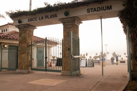 Morning fog rolls in through the entrance to La Playa stadium on Friday, Sept. 3, 2021 at City College in Santa Barbara, Calif. The first home game to be played at the stadium since the pandemic will be Tuesday, August 7, 2021.