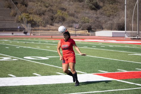 Destiny Boynton braces herself as she heads the ball during the Vaqueros' first home game of the fall 2021 season on Sept. 7 in La Playa Stadium at Santa Barbara City College in Calif. The Vaqueros defeated the Taft College Cougars 6-1.